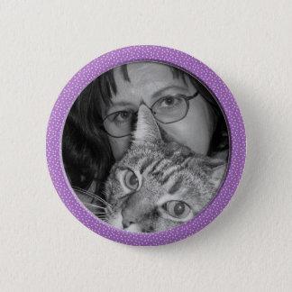 purple speckles frame 6 cm round badge
