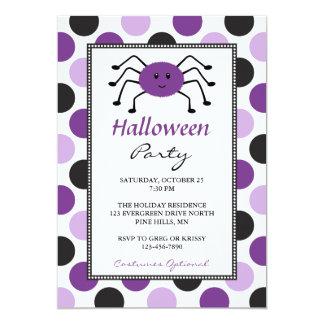 Purple Spider Halloween Party Invitations