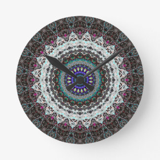 Purple Spider House Kaleidoscope Round Clock