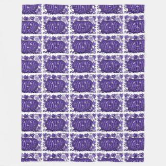 Purple Spidery Pumpkin Fleece Blanket