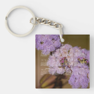 Purple Spiky Flower; 2013 Calendar Single-Sided Square Acrylic Key Ring