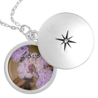 Purple Spiky Flower; Customizable Round Locket Necklace