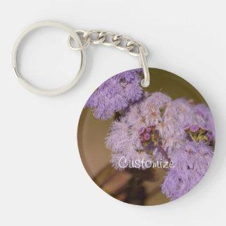 Purple Spiky Flower; Customizable Single-Sided Round Acrylic Key Ring