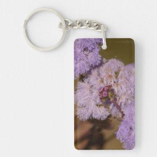 Purple Spiky Flower; No Text Single-Sided Rectangular Acrylic Key Ring