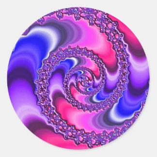 Purple Spiral Classic Round Sticker
