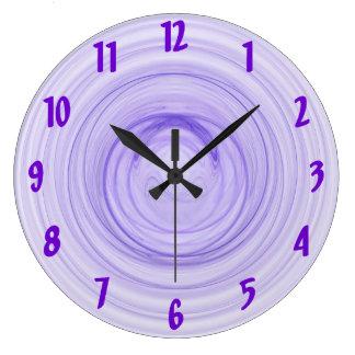 Purple Spirals Large Clock