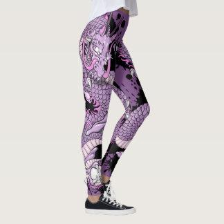 Purple Splash Tattoo Dragon on Purple Leggings