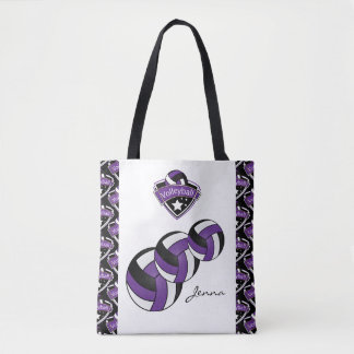Purple Sport Volleyball Star | DIY Text Tote Bag