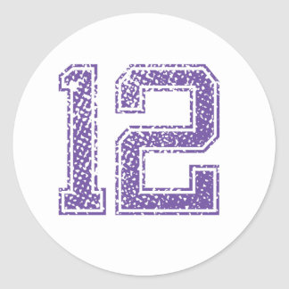 Purple Sports Jerzee Number 12.png Round Sticker