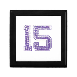 Purple Sports Jerzee Number 15.png Small Square Gift Box