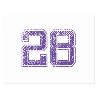 Purple Sports Jerzee Number 28.png Post Cards