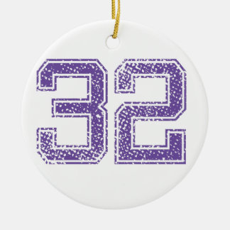 Purple Sports Jerzee Number 32.png Christmas Ornament