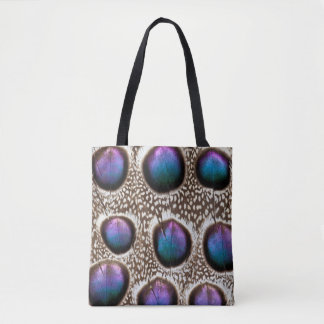 Purple Spotted Peacock Pheasant Feathers Tote Bag