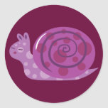 Purple Spotted Snail Round Sticker