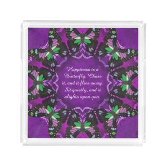 Purple Spotted Swallowtail Mandala Acrylic Tray