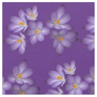 Purple Spring Crocus Flower Fabric
