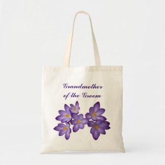 Purple Spring Floral Grandmother of the Groom Budget Tote Bag