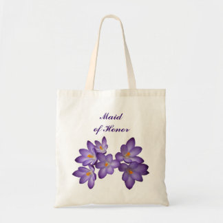 Purple Spring Floral Maid of Honor Budget Tote Bag