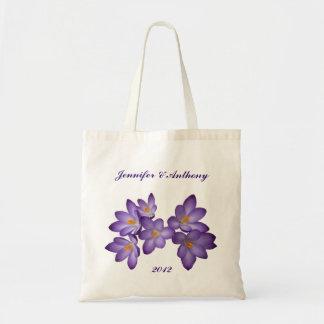 Purple Spring Floral Wedding Budget Tote Bag