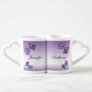 Purple Spring Floral Wedding Lovers Mugs