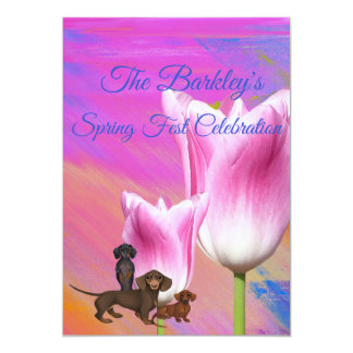 Purple Spring Time Dachshund Invitation