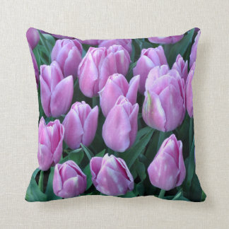 Purple spring tulips cushion