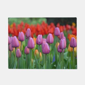 Purple spring tulips doormat