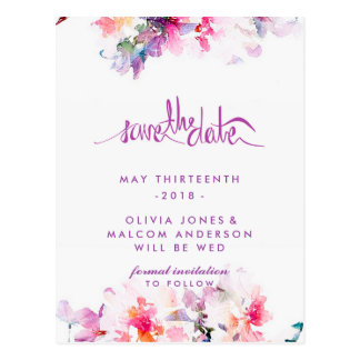 Purple Spring Wedding Floral Save the Date Postcard