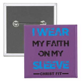 purple, square I wear my Faith pin button