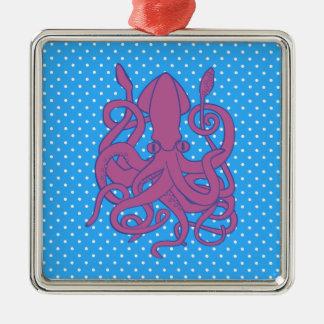 Purple Squid & Polka Dots Silver-Colored Square Decoration