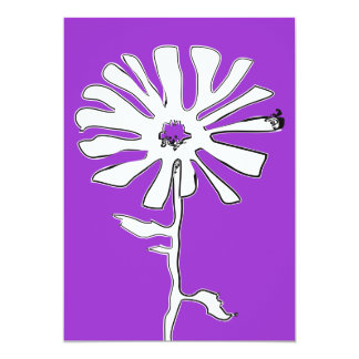 purple squiggle flower 13 cm x 18 cm invitation card