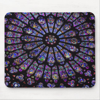 Purple Stained Glass Church Window Mouse Mat