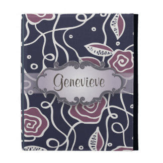 Purple Stained Glass Roses with Nameplate iPad Folio Case