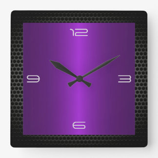 Purple Stainless Steel Modern Metal Border Square Wall Clock