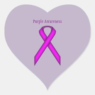 Purple Standard Ribbon Heart Sticker