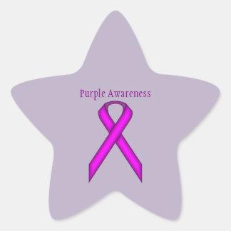 Purple Standard Ribbon Star Sticker