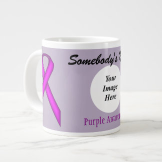 Purple Standard Ribbon Template 20 Oz Large Ceramic Coffee Mug