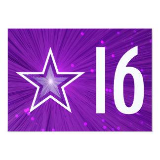 Purple Star '16' birthday invitation