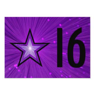 Purple Star '16' birthday invitation black back