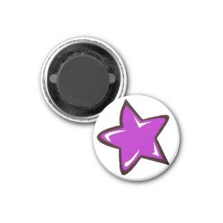 Purple Star 3 Cm Round Magnet
