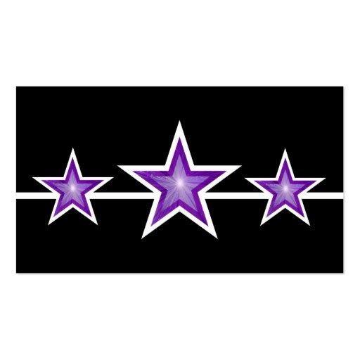 Purple Star 3 stars business card black