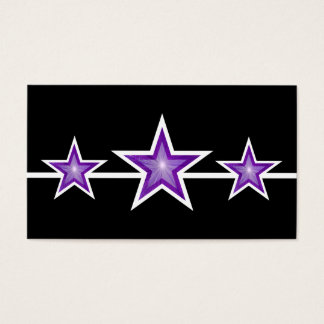 Purple Star 3 stars business card black
