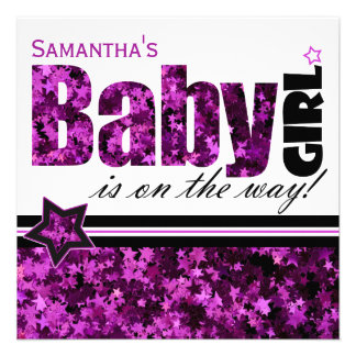 Purple Star Baby Girl Baby Shower Invitation