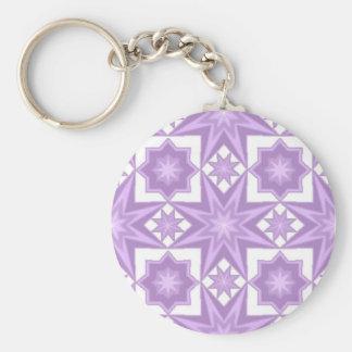 Purple Star Basic Round Button Key Ring