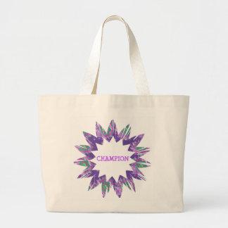 PURPLE Star:  CHAMPION Script Jumbo Tote Bag