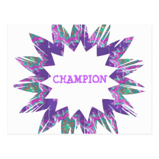 PURPLE Star:  CHAMPION Script Postcard