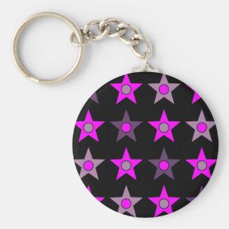 Purple Star Design Basic Round Button Key Ring