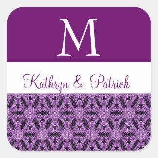 Purple Star Flowers Wedding Monogram R576 Square Sticker