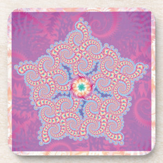 Purple Star Fractal Pattern Coaster