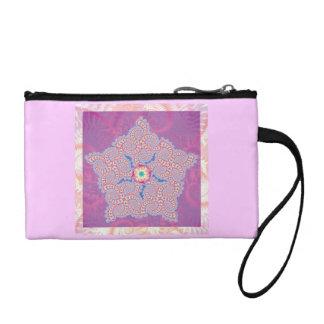 Purple Star Fractal Pattern Coin Wallet